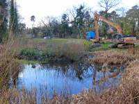 Working with Hart District Council and Johns Associates, the project at Cricket Hill was to both restore and enhance the Pond.  The works included the removal of silt and vegetation and the formation of a retaining structure to store the dredged material.  The existing island was improved to increase the amenity value to the village while still allowing the council to create essential flood water storage required.  An improvement in water quality as a result of the desilting together with the creation of an island habitat yielded ecological benefits too.