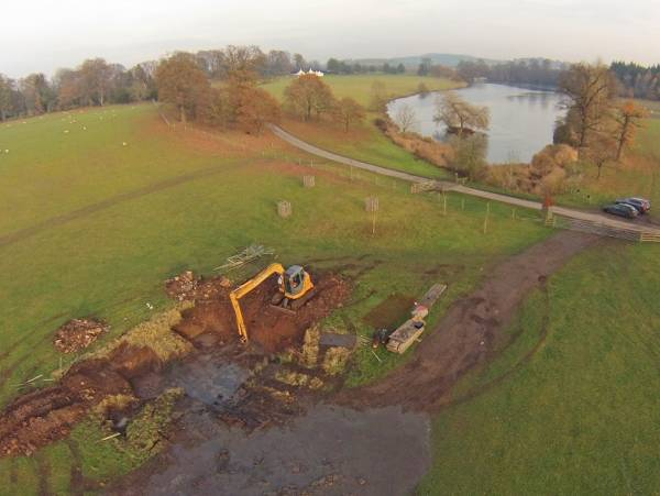 The pond restoration has involved the extensive de-silting of two ponds, new concrete foundations, drainage and local stone masons to repair and rebuild the pond walls.  As much original stone from crumbling walls was salvaged as possible during the removal of silt, ensuring both cost savings for the client and sensitive heritage restoration.